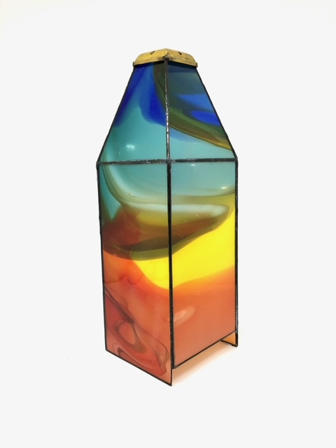 4 sided stained glass candle