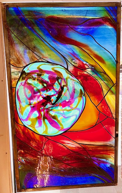 Hanging stained glass panel